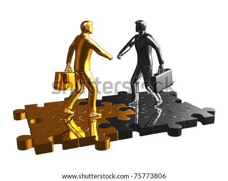Abstract render of gold and chrome businessman walk on puzzle. - stock photo