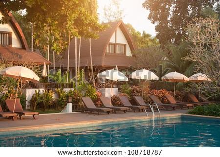 abstract resort in tropics - stock photo