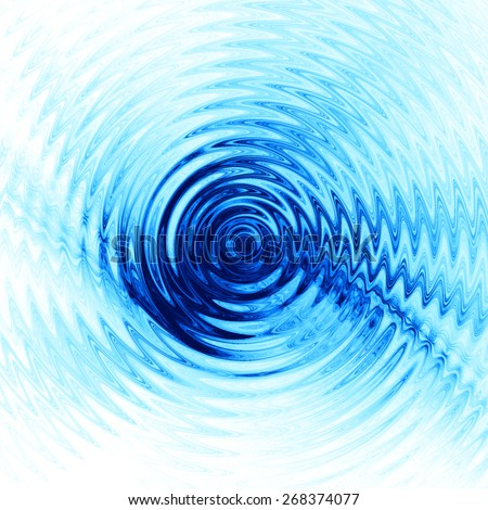 Abstract ripple in water with concentric circles. Droplet falling in blue water  - stock photo