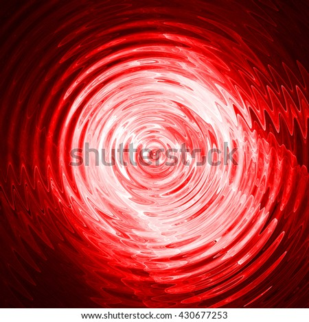 Abstract ripple in water with red light concentric circles. Droplet falling in water.  - stock photo