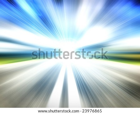 Abstract road to light - stock photo
