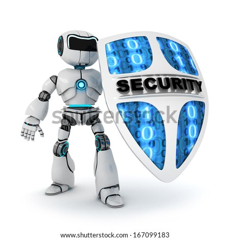 Abstract robot and shield (done in 3d, isolated)  - stock photo