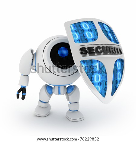 Abstract robot and shield (done in 3d,isolated) - stock photo