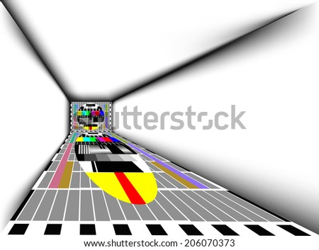 abstract room with tv - stock photo
