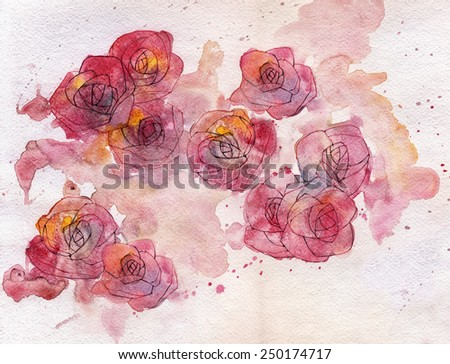 Abstract roses watercolor painting background - stock photo