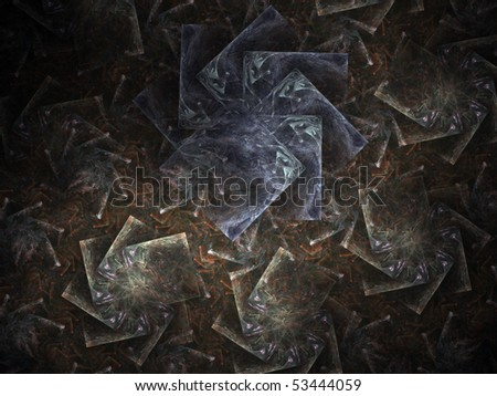 Abstract rotated squares on a black background - stock photo