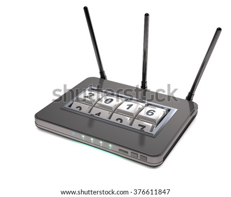 Abstract router with secure access on white background. - stock photo