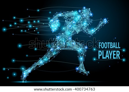 Abstract running footballer with cybernetic particles. Polygonal digital background. Point and curve constructed the football player silhouette wireframe.  - stock photo