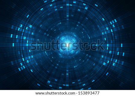 Abstract science fiction futuristic background vision of super collider particle accelerator - stock photo