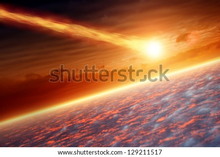Abstract scientific background - asteroid impact planet earth - stock photo