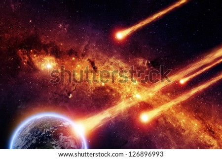 Abstract scientific background - asteroid impact planet earth, red galaxy. Elements of this image furnished by NASA/JPL-Caltech - stock photo