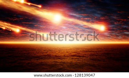 Abstract scientific background - asteroid impact, sunset over sea, glowing horizon - stock photo