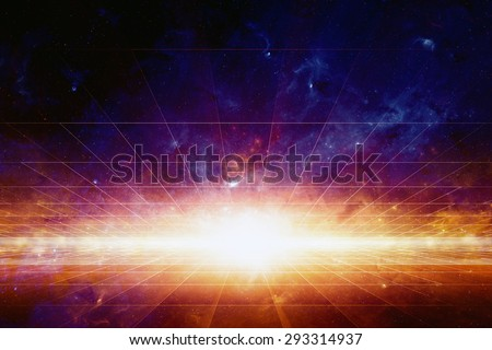 Abstract scientific background, bright light from space, nebula and stars in deep space, glowing mysterious universe. Elements of this image furnished by NASA nasa.gov - stock photo