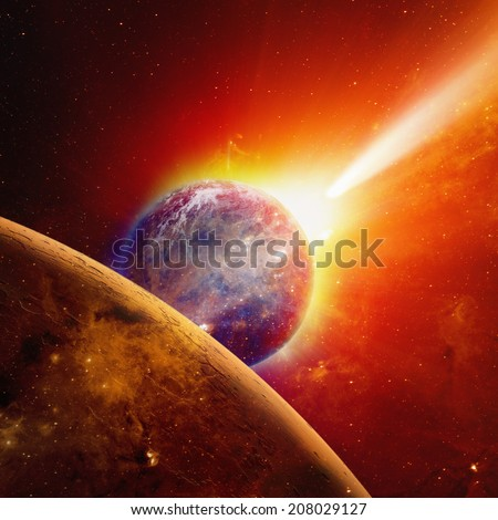 Abstract scientific background - glowing planet earth and mars in space, comet approaches planet earth, red sun. Elements of this image furnished by NASA - stock photo