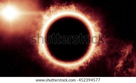 Abstract scientific background of Universe scene in outer space, 3D Illustration of Planet and Space - stock photo