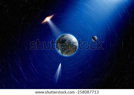 Abstract scientific background - planet Earth and moon in space, comet approaches planet Earth, ufo approaches planet Earth. Elements of this image furnished by NASA  - stock photo
