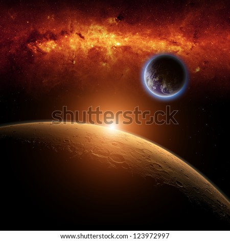 Abstract scientific background - planets Earth and Mars in space, red galaxy, bright red sun. Elements of this image furnished by NASA. - stock photo