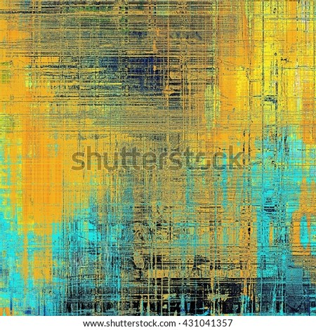 Abstract scratched background or frame with weathered grunge texture. Ancient style backdrop with different color patterns: yellow (beige); blue; red (orange); black; cyan - stock photo