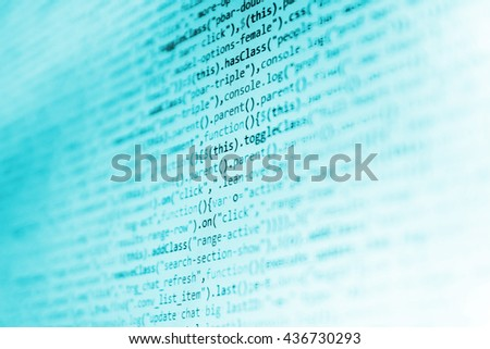 Abstract screen of software.  Programming code abstract screen of software developer. Programmer workplace. Website development. Programming code.   - stock photo