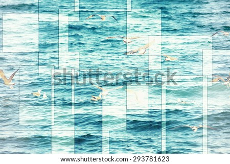 abstract sea geometric background with many seagulls and water waves, filter colored - stock photo