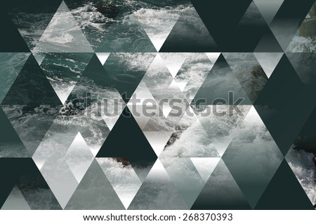abstract sea geometric background with triangles, water waves - stock photo