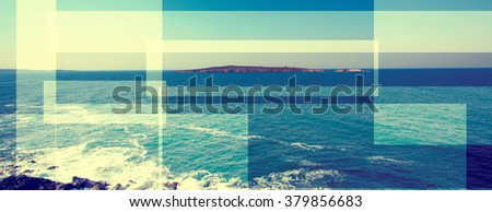 abstract sea geometric background with water waves, sunrise time , filter colored - stock photo