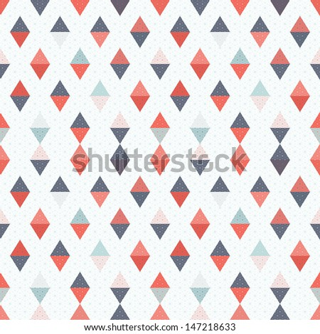 Abstract seamless background. Multicolored triangles and grid. Raster copy of the vector. - stock photo