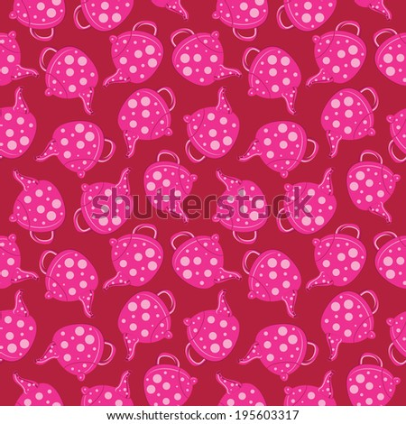 Abstract seamless background with tea, polka dot. Kitchen background. - stock photo