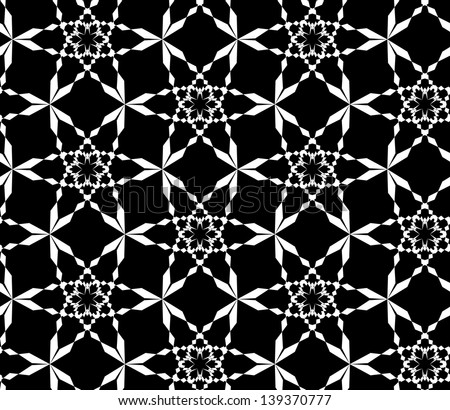 Abstract seamless black and white inverted pattern with stylized snowflakes - stock photo