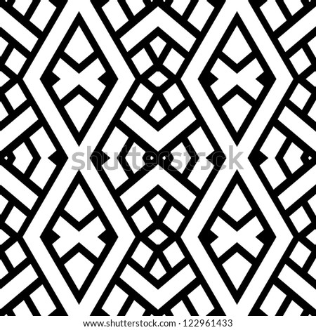 Abstract seamless black and white pattern ( vector in portfolio) - stock photo