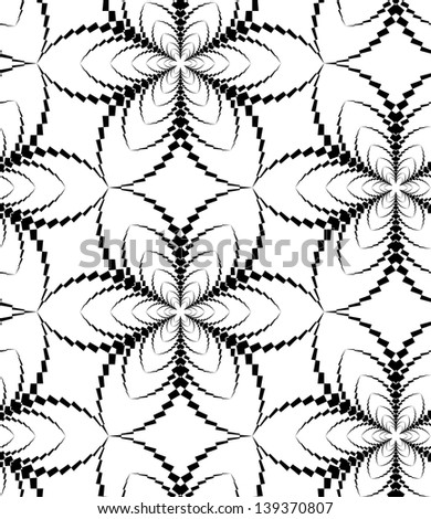Abstract seamless black and white pattern with stylized six flower - stock photo