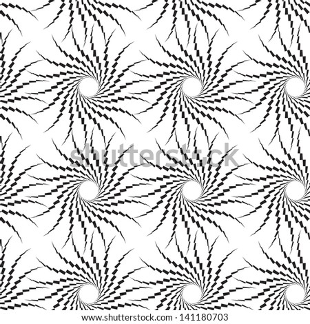Abstract seamless black and white pattern with thorny swirls in quadrangles. Easy to change the colors. - stock photo
