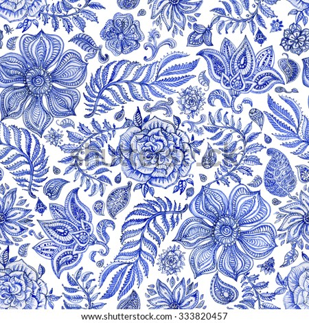 Abstract seamless floral pattern of indigo blue hand painted watercolor  fantasy leaves, flowers,  Paisley elements and curly branches on a white background. Textile print, album cover. - stock photo