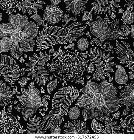 Abstract seamless floral pattern of white and light grey colored hand drawn by pencil outline fantasy leaves, flowers and curly branches on a dark black background. Floral ornate print - stock photo