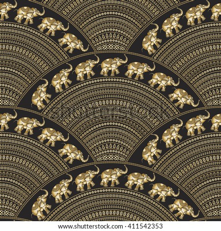 Abstract seamless geometrical wavy pattern .Golden fan shaped ornate feathers, banners with ethnic ornaments. Fish scale order. Batik painting. Oriental print. Indian elephant silhouette - stock photo