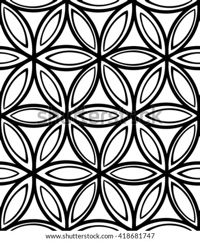 Abstract seamless monochrome floral pattern on white background for coloring. Design for banner, card, invitation, postcard, textile, fabric, wrapping paper, coloring book. Raster copy of vector file. - stock photo
