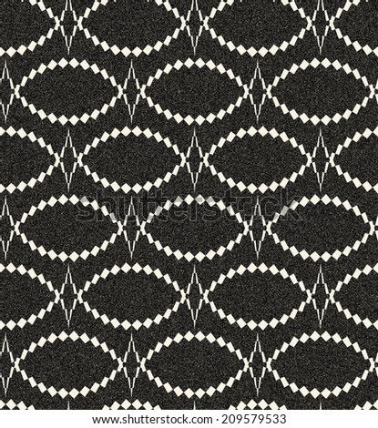 Abstract seamless monochrome pattern in retro style with eye or fish structure. Retro decoration with gothic motive, sepia tone and speckled texture. Visual effect of old worn down background.   - stock photo
