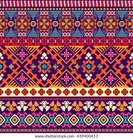 Abstract seamless pattern. Boho style. Geometric ornament. Ornamental border - stock photo