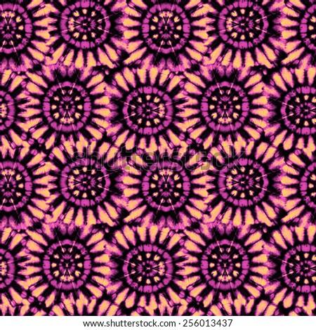 abstract seamless pattern. circular motifs, tie dye fabric.  - stock photo