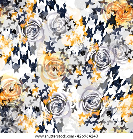 Abstract seamless pattern houndstooth design. Grunge seamless background. Floral seamless pattern watercolor effect. Textile print for bed linen, jacket, package design, fabric and fashion concepts. - stock photo