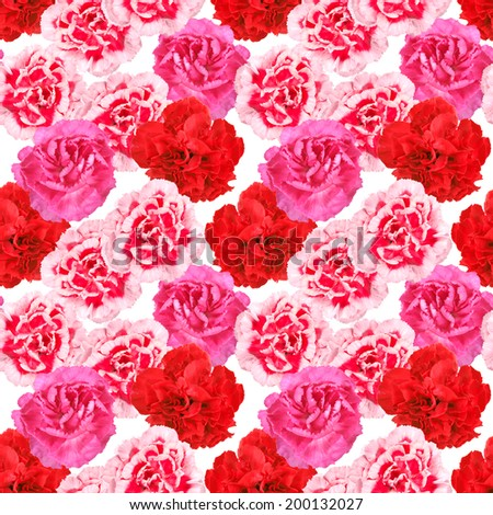Abstract seamless pattern with red and pink flowers of carnations. Isolated on white background. Close-up. Studio photography. - stock photo