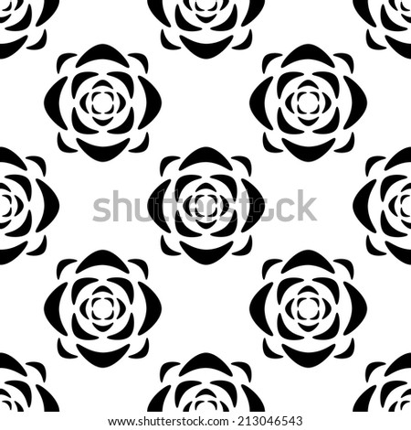 Abstract seamless pattern with silhouettes roses flowers in black and white. Floral repeating monochrome background. Endless print texture. Fabric design. Wallpaper - raster version  - stock photo