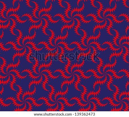 Abstract seamless thorny pattern with stylized twist six stars - stock photo