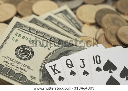 Abstract shallow DOF of straight cards. A hand lack Ace card to score royal flush - stock photo