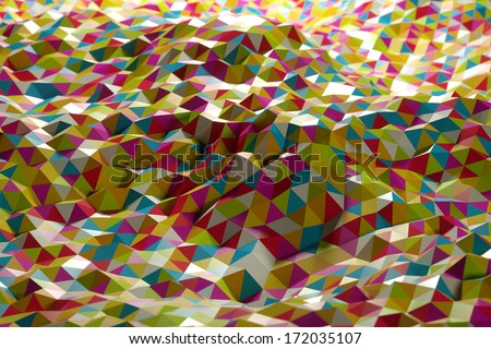 Abstract shape from colorful triangles - stock photo
