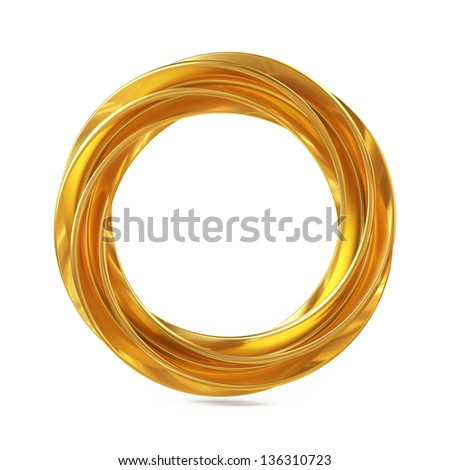 Abstract Shape, Golden Ring Isolated on White Background - stock photo