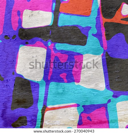 abstract shapes design on wood grain texture - stock photo
