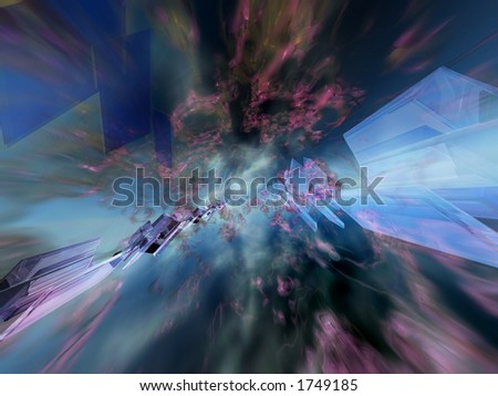 Abstract shapes falling towards a center - stock photo