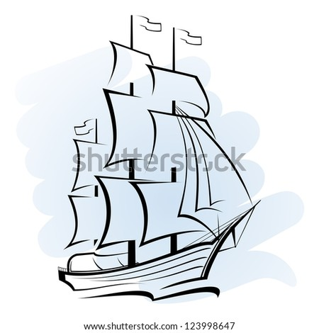 Abstract ship - stock photo
