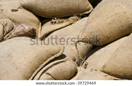 Abstract Shot of Sandbags - stock photo